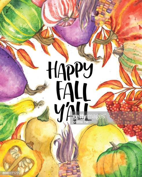 "Autumn Vegetable and Leaf Border with ""Happy Fall Y'All"" Text"