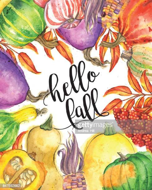 "Autumn Vegetable and Leaf Border with ""hello fall"" Calligraphic Text"