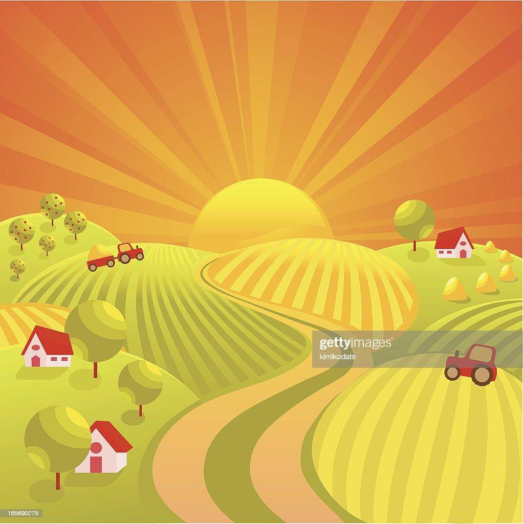 Autumn village road