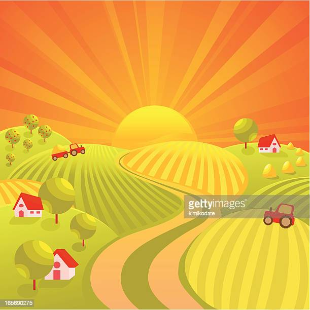 autumn village road - land vehicle stock illustrations