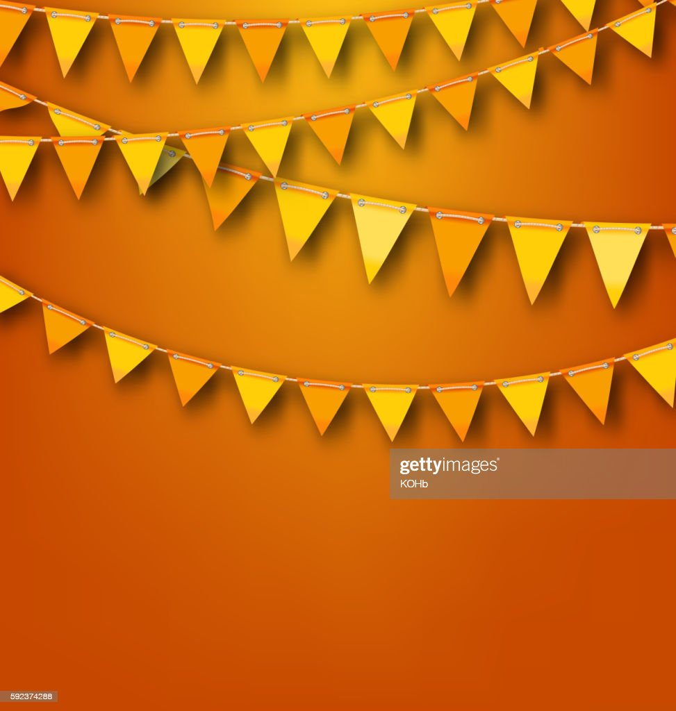 Autumnal Decoration with Orange and Yellow Bunting Pennants