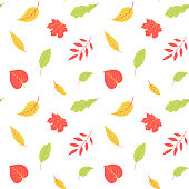 Autumnal seamless pattern with leaves. Vector harvest falling background