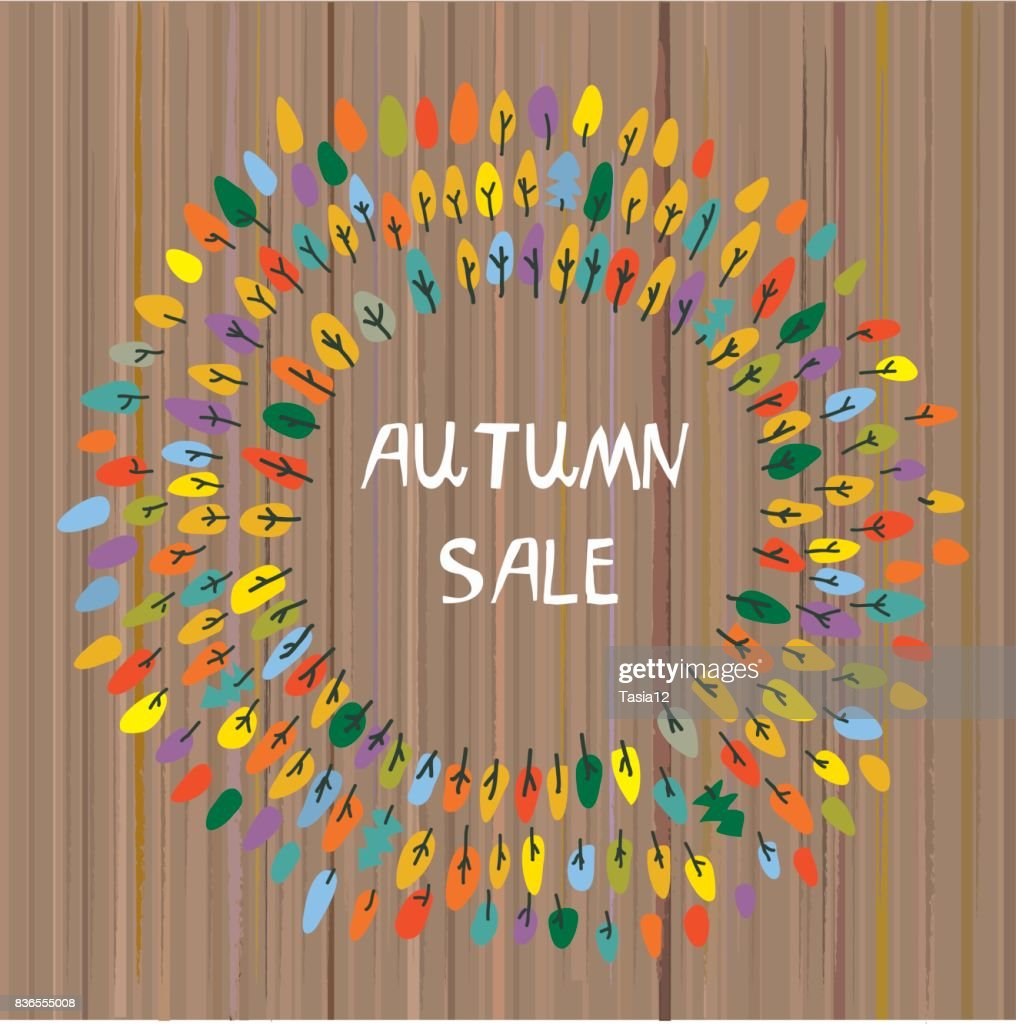 Autumns sale backgroun with the trees for the park or camp. Vector illustration