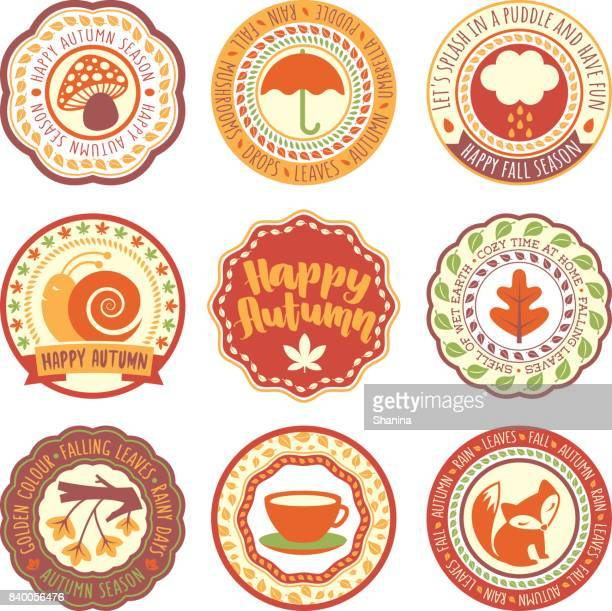 AutumnSeason Vector Circular Labels