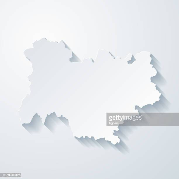 auvergne rhone alpes map with paper cut effect on blank background - auvergne rhône alpes stock illustrations
