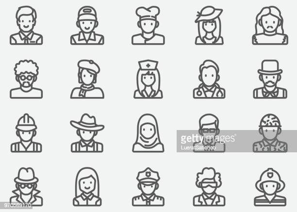 avatar and people line icons - headwear stock illustrations