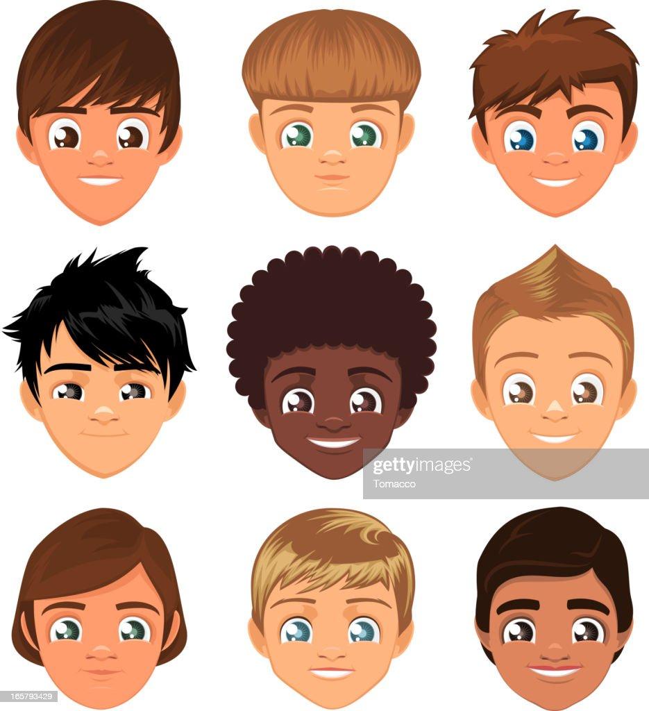 Avatar Avatars Little boys head faces profile cartoon character Set
