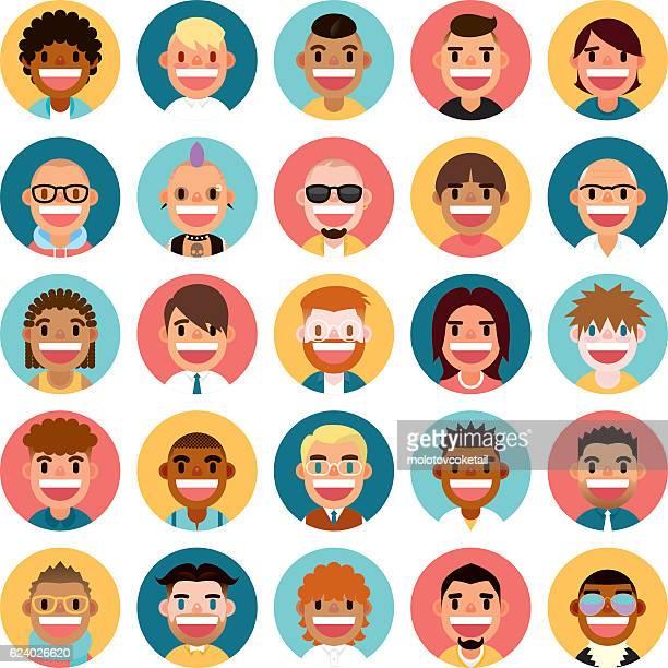 ilustrações, clipart, desenhos animados e ícones de avatar conjunto de ícones - avatar