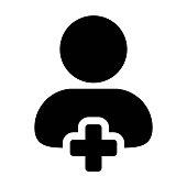 Avatar icon vector male add user person profile with plus symbol in flat color glyph pictogram