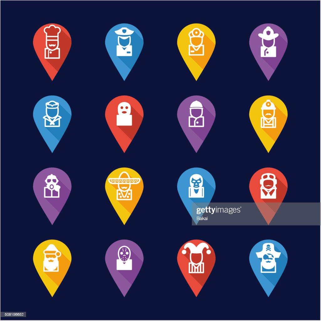 Avatar Icons Set 1 Flat Design Pin