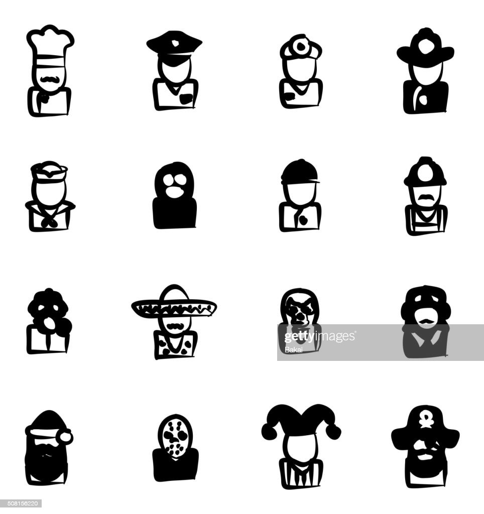 Avatar Icons Set 1 Freehand Fill