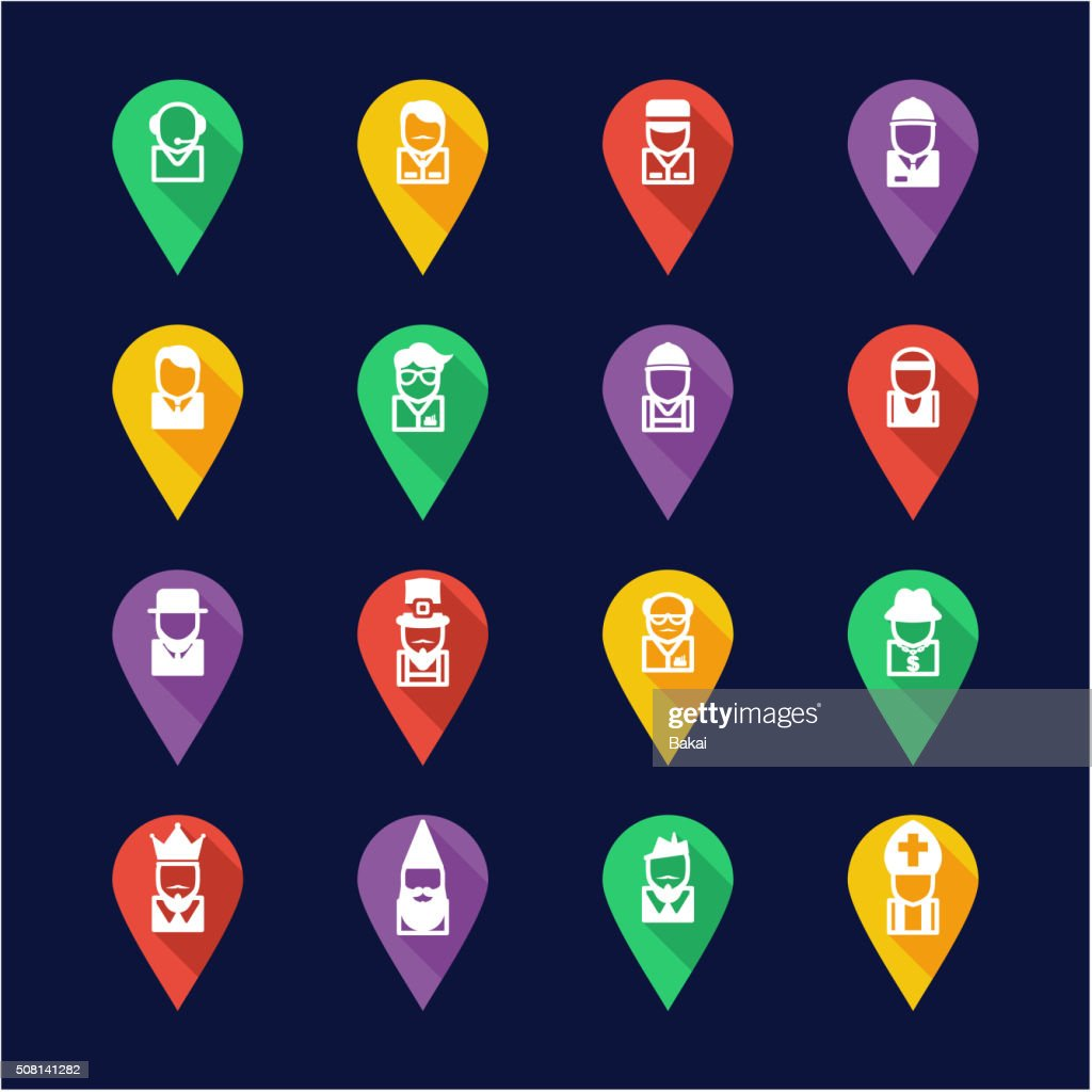 Avatar Icons Set 4 Flat Design Pin