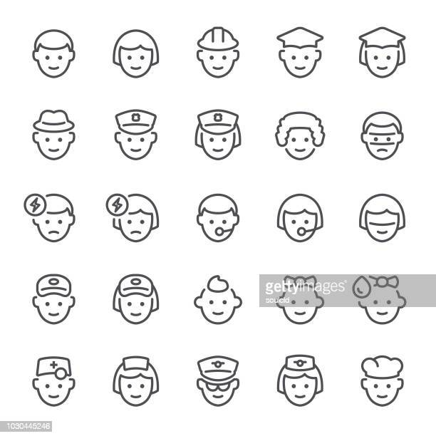 avatar icons - courier stock illustrations