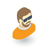Avatar, man in Sun glasses isometric flat icon. 3d vector