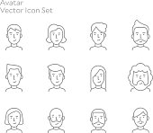 Avatar People Vector Line Icon Set