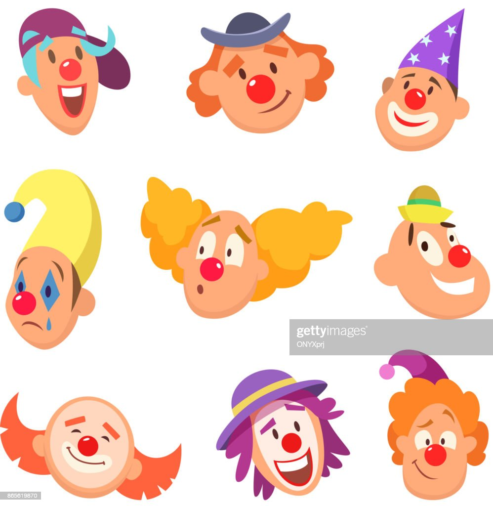 Avatar set of funny clowns with different emotions