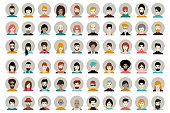 Avatar, woman, man heads. People vector shape heads different nationality