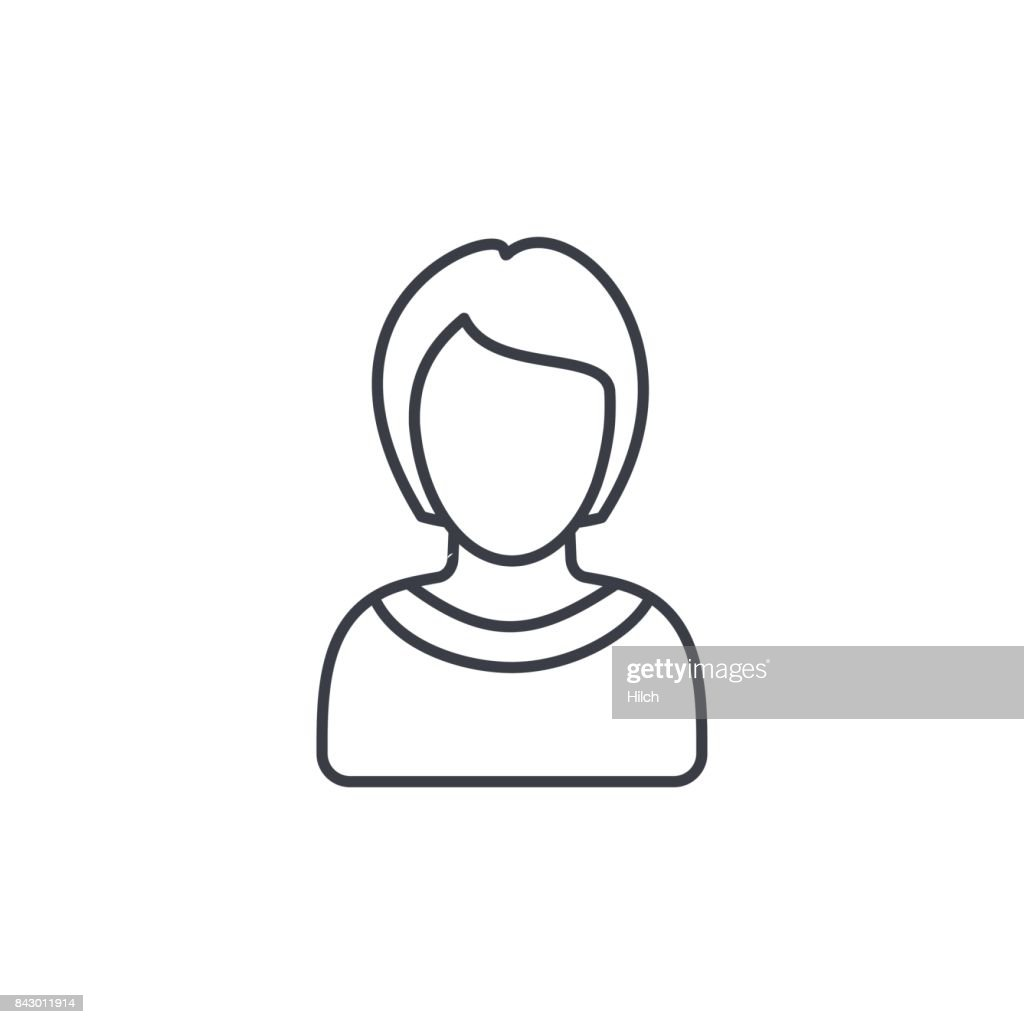 Avatar, woman thin line icon. Linear vector symbol