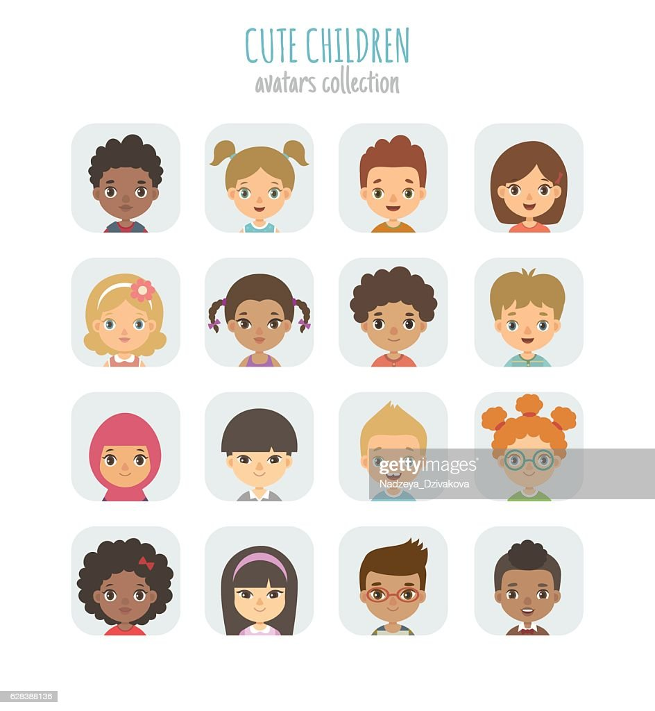 Avatars collection of cute children.
