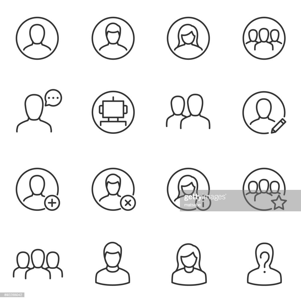 Avatars for user interface icons set. Line with editable stroke