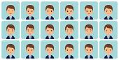 Avatars male emotions in flat design. Vector illustration.
