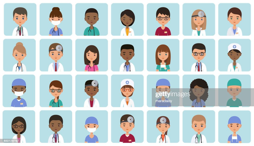 Avatars medical characters in flat design. Vector illustration.