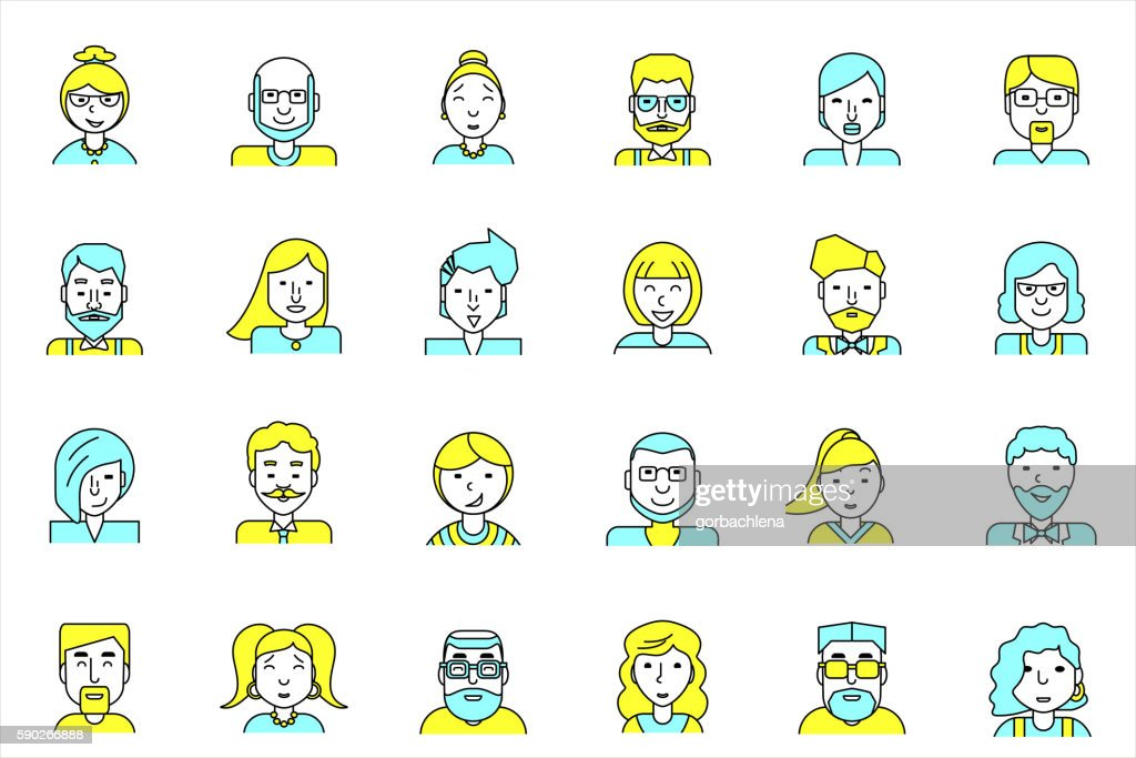 Avatars set. Flat style. Line people icons for profile page.