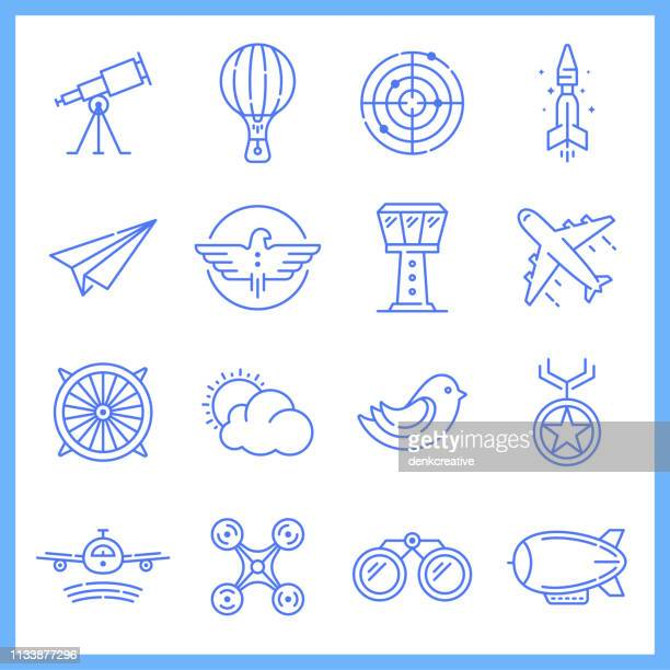 aviation academy blueprint style vector icon set - airplane stock illustrations