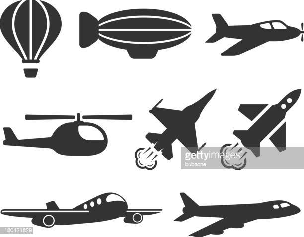 Aviation and Flight Vehicles black & white vector icon set