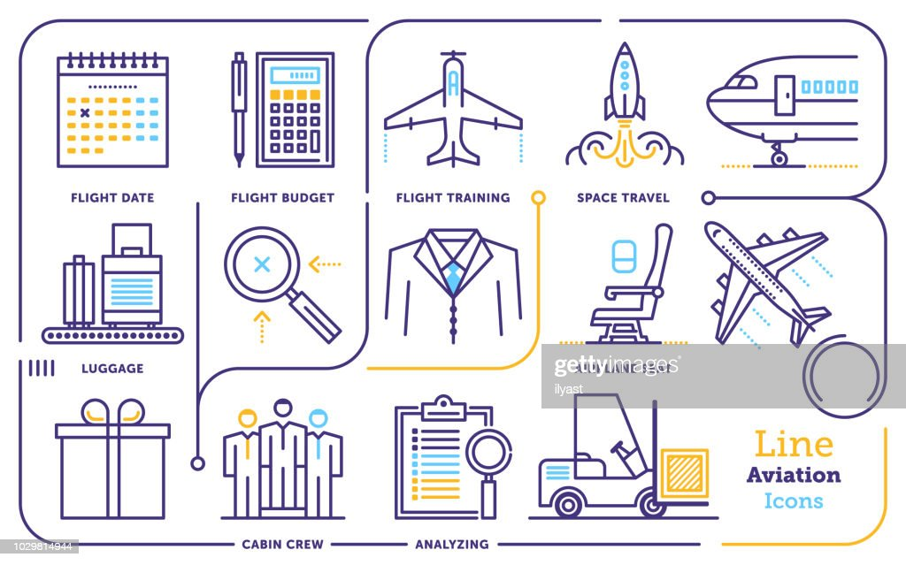 Aviation Line Icon Set : Stock Illustration