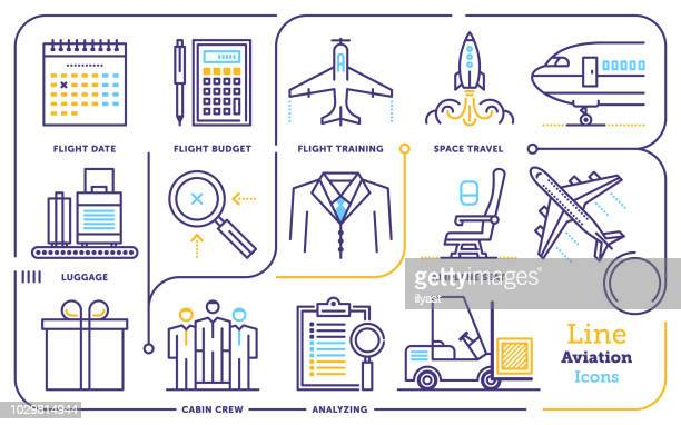 aviation line icon set - aeroplane stock illustrations, clip art, cartoons, & icons