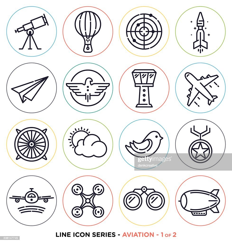 Aviation line icons
