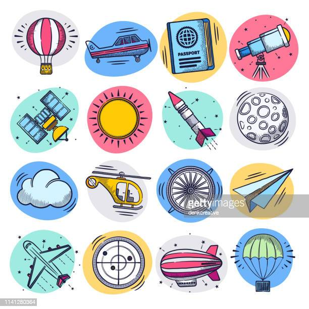 aviation research & space technology liquid doodle style vector icon set - observatory stock illustrations