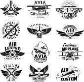 Aviation retro airplane sport team vector icons