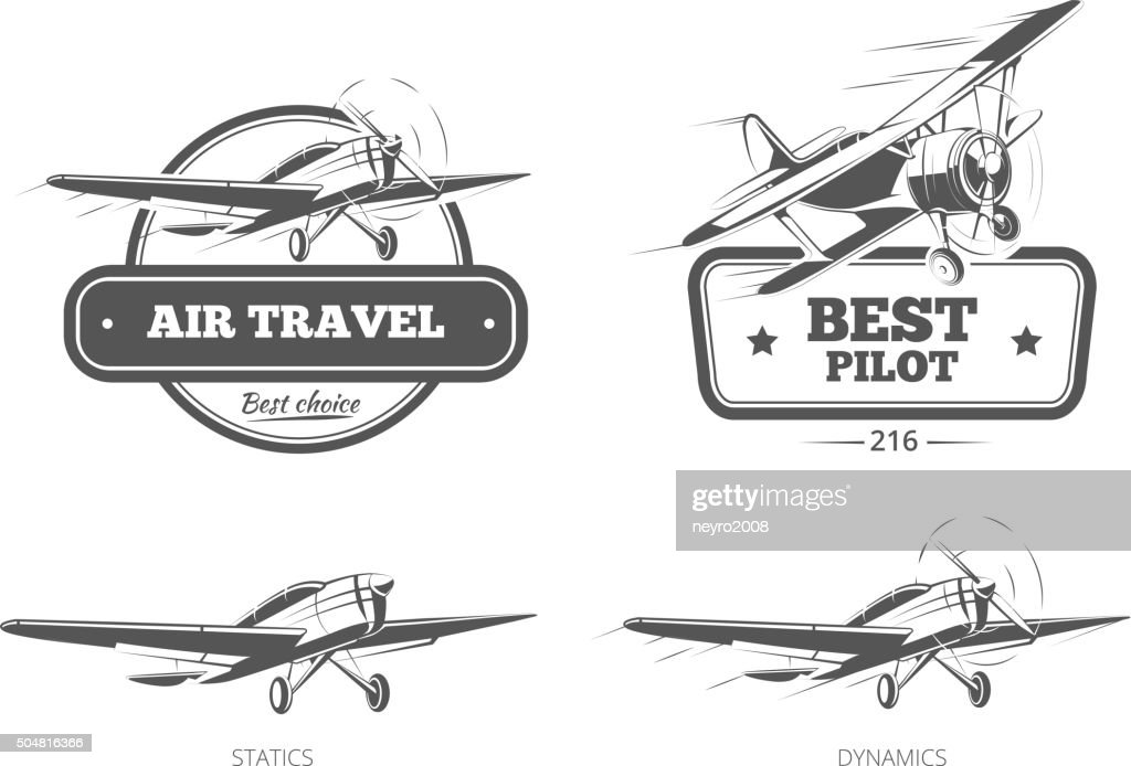 Aviation vector badges, logos, emblems, labels