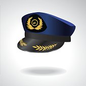 Aviator Peaked cap of the pilot. Civil aviation and air transport.