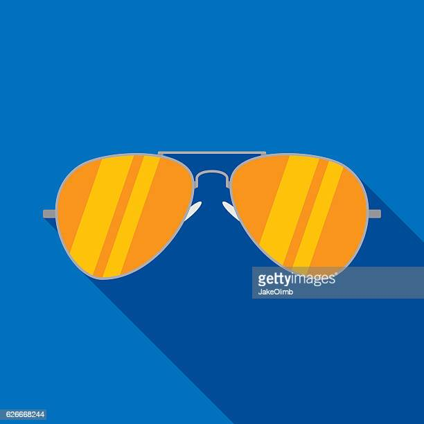 aviator sunglasses icon flat - sunglasses stock illustrations