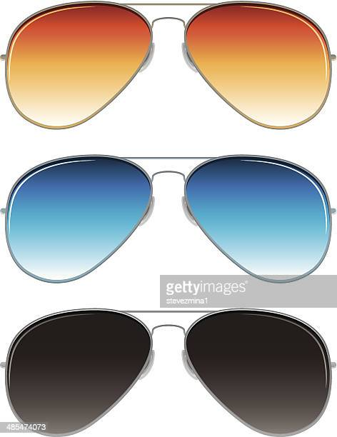 aviator sunglasses with orange, blue, and dark grey lenses