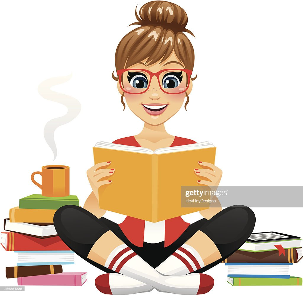 Avid Reader Girl : stock illustration