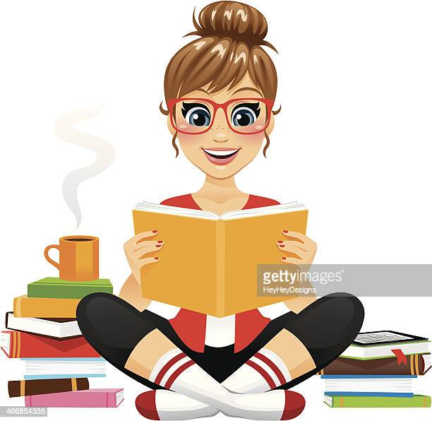avid reader girl - reading stock illustrations