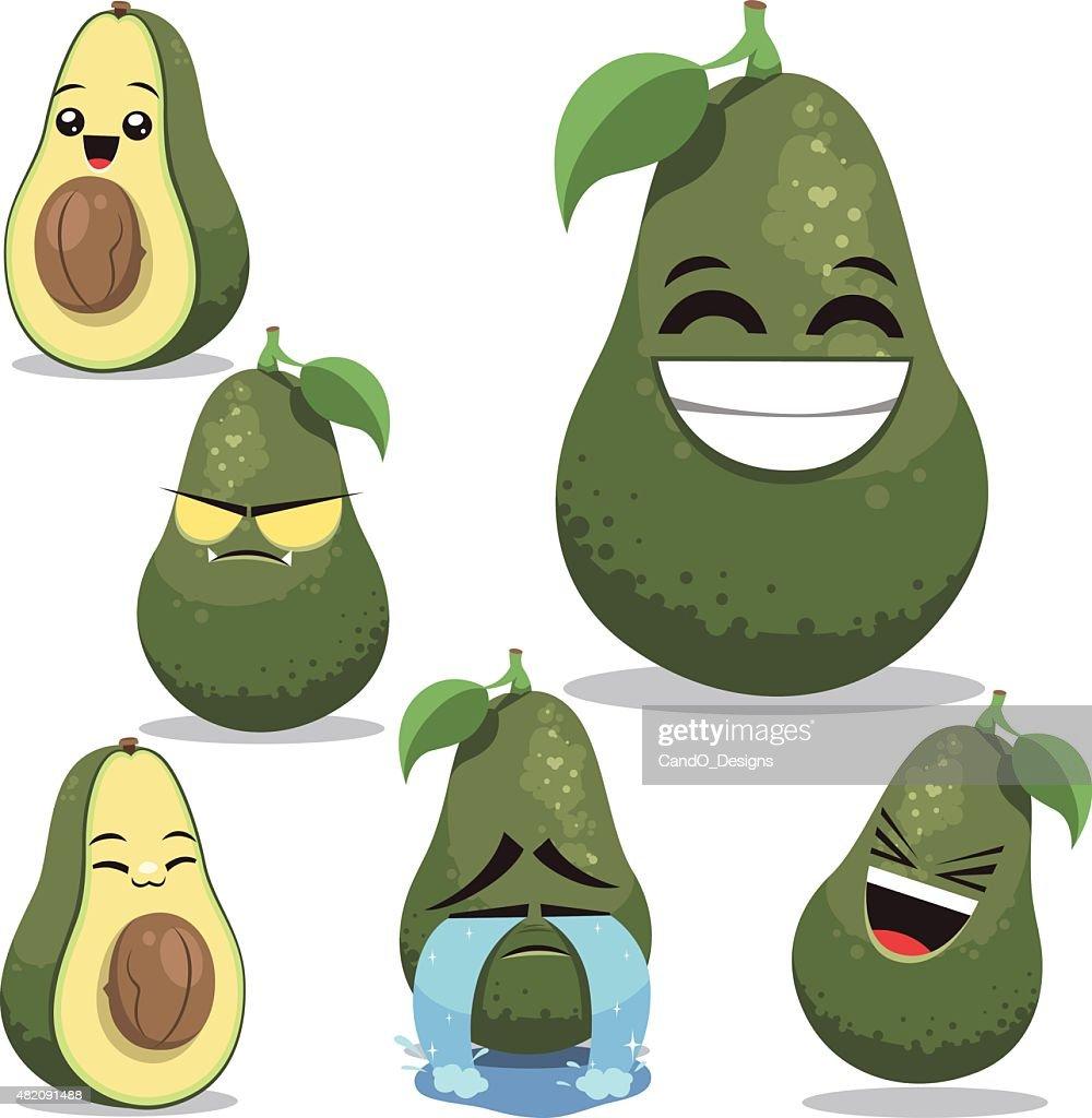 Avocado Cartoon Set B