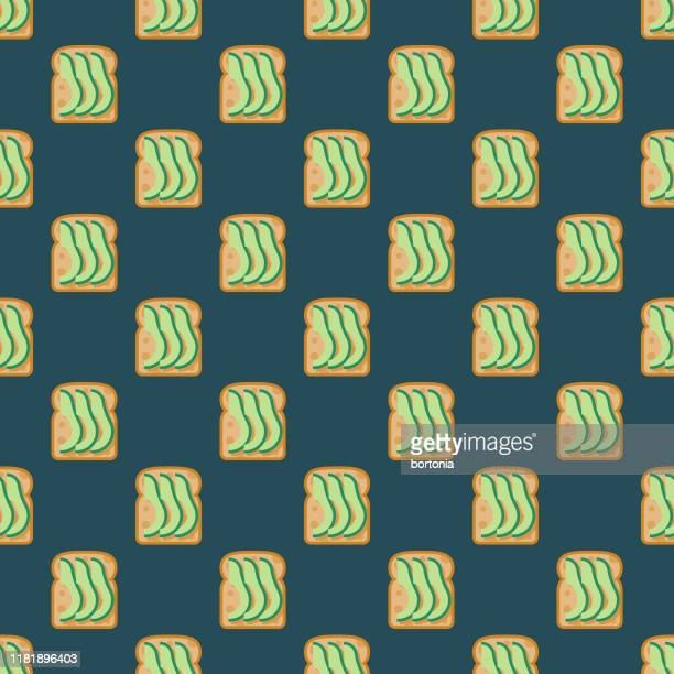 stockillustraties, clipart, cartoons en iconen met avocado toast snack patroon - avocado toast