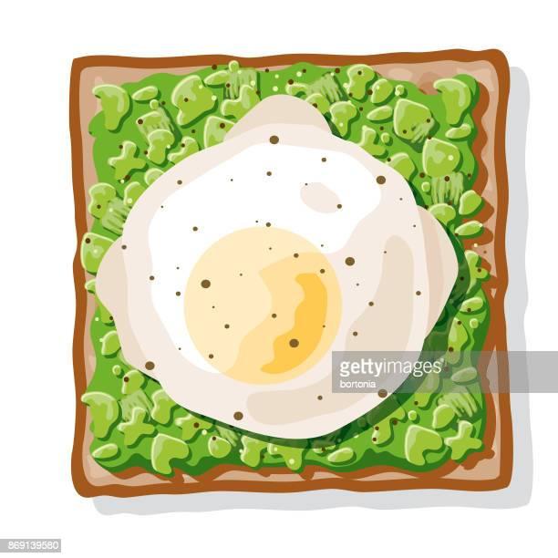 ilustraciones, imágenes clip art, dibujos animados e iconos de stock de tostada de aguacate con un huevo escalfado - huevo comida básica
