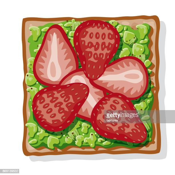 avocado toast with sliced strawberries - toasted sandwich stock illustrations, clip art, cartoons, & icons