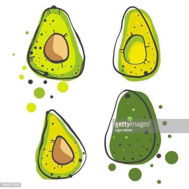 avocados pencil drawings - cartoon desserts stock illustrations