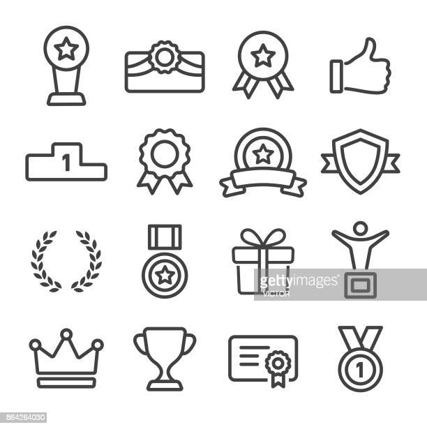 award and honor icons set - line series - award plaque stock illustrations, clip art, cartoons, & icons