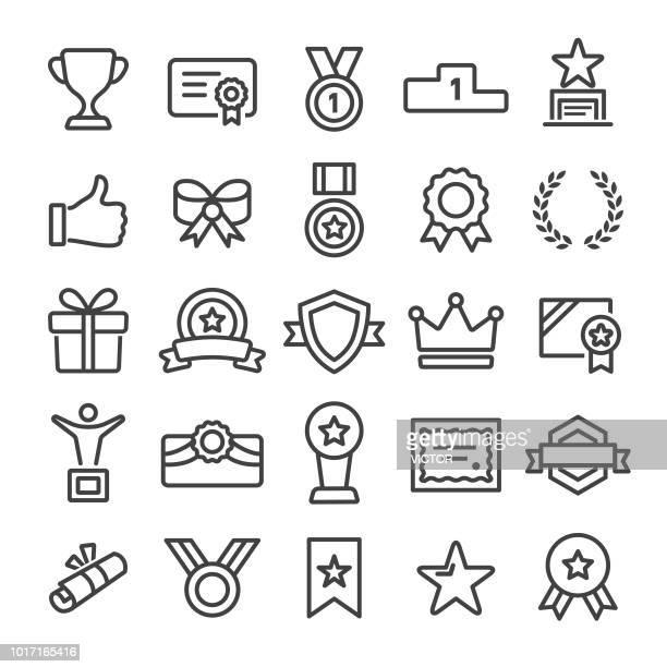 ilustrações, clipart, desenhos animados e ícones de prêmio e homenagear ícones - linha inteligente série - loureiro