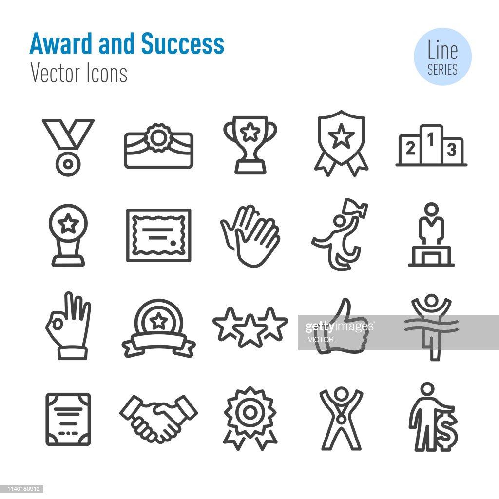 アワードとサクセスアイコン-ベクターラインシリーズ : ストックイラストレーション
