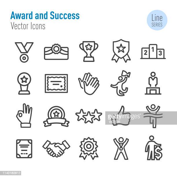 award and success icons - vector line series - attending stock illustrations