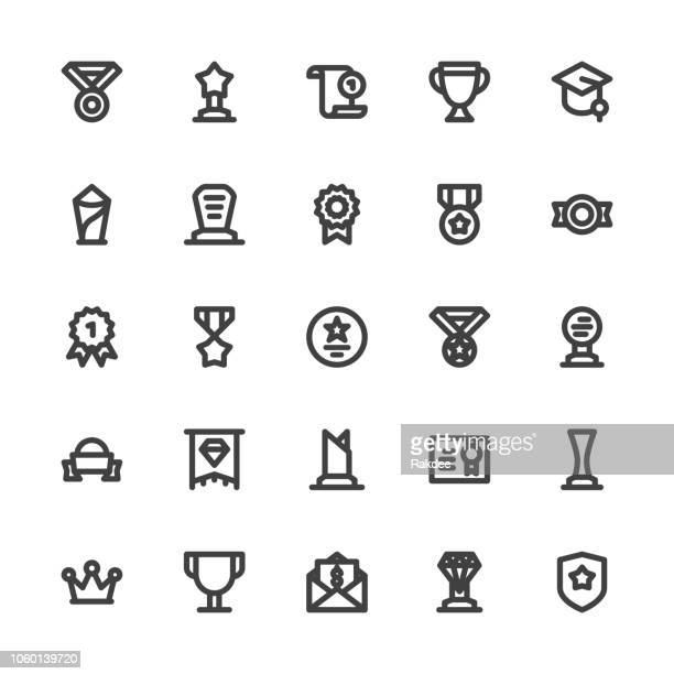 Award and Trophy Icons - Bold Line Series